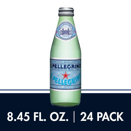 S.Pellegrino Sparkling Natural Mineral Water, 8.45 fl oz. Glass Bottles (24