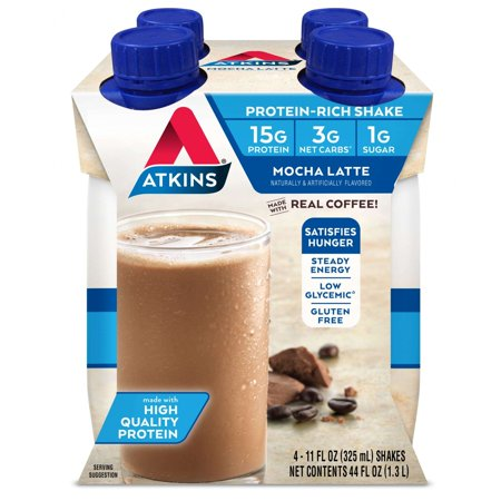 Atkins Mocha Latte Shake, 11 fl oz, 4-pack (Ready To