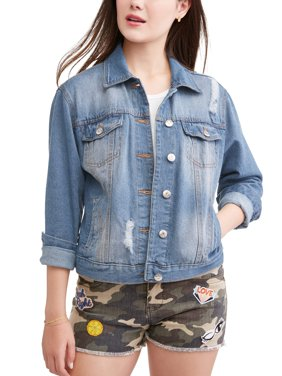 Juniors' Distressed Denim Jacket