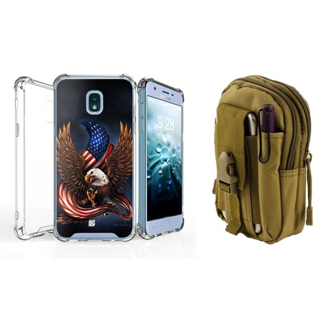 AquaFlex Shock Bumper Design Protection Case (Eagle American Flag) with Khaki Tactical EDC MOLLE Waist Bag Holder Pouch and Atom Cloth for Samsung Galaxy J7 Refine](Flag Holder Case)