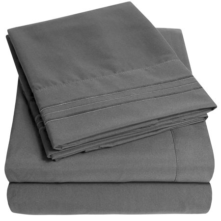 1800 Thread Count 4 Piece Deep Pocket Bedroom Bed Sheet Set Queen - Gray ()