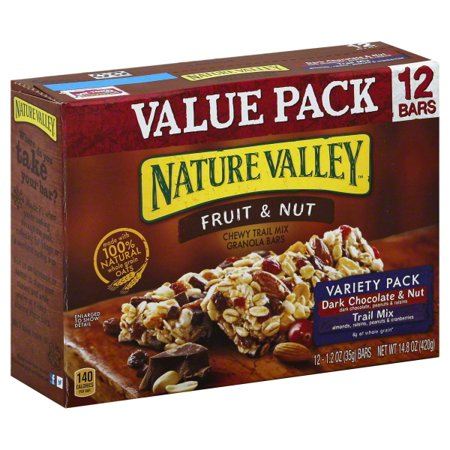 Nature Valley Chewy Granola Bar Trail Mix Variety Pack of Dark Chocolate & Nut and Fruit & Nut 12 - 1.2 oz (Seeds Trail Mix Bar)