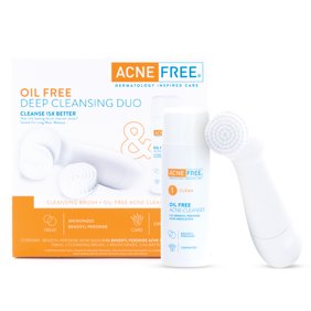 AcneFree Deep Cleansing Duo Brush & Oil-Free Acne Face Cleanser, 15X Better Clean