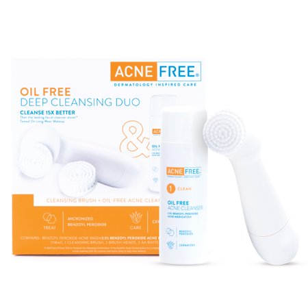 AcneFree Deep Cleansing Duo Brush & Oil-Free Acne Face Cleanser, 15X Better