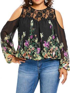 AKFashion Women's Plus Size Cold Shoulder Long Sleeve Round Neck Flora Blouse Shirts Tops
