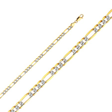 FB Jewels 14K White and Yellow Gold 4.6MM Two Tone Lobster Claw Clasp Figaro White Pave Chain Necklace - 7.5 Inches - Gold Pave Figaro Chain