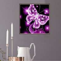 5D DIY Pink Butterfly Crystal Diamond Painting Animal Full Rhinestone Embroidery Needlework Picture Family Home Cross Stitch