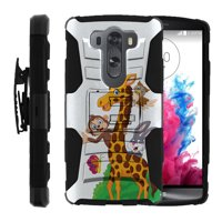 LG V10 and LG G4 PRO Miniturtle® Clip Armor Dual Layer Case Rugged Exterior with Built in Kickstand + Holster - Cartoon Giraffe