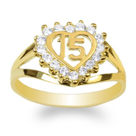 Ladies 10K Yellow Gold 15 Anos Quinceanera Beautiful Heart Ring Size 4-10