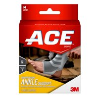 ACE Knitted Ankle Compression Support, Medium, White/Gray, 1/pack