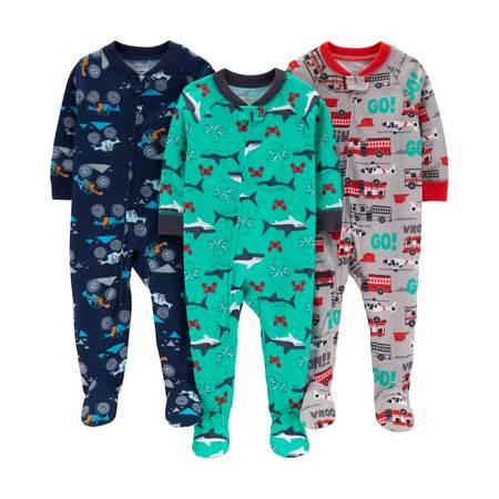 Child of Mine by Carter's One piece footed poly pajamas, 3pk (baby boys & toddler boys)](Glow In The Dark Skeleton Pajamas Boys)
