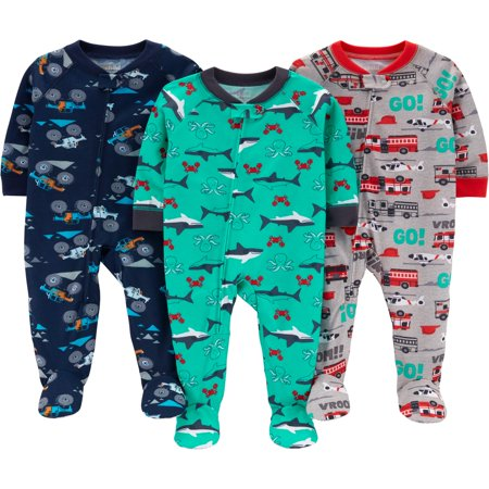 - Child of Mine by Carter's One piece footed poly pajamas, 3pk (baby boys & toddler boys)