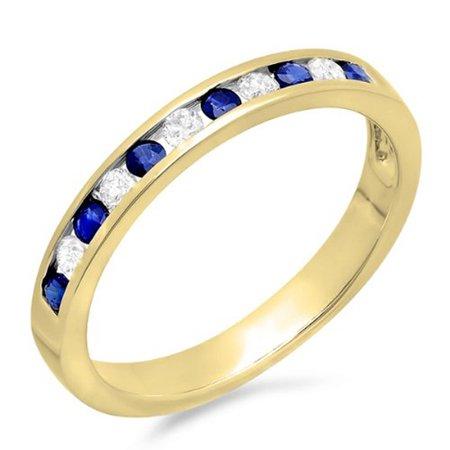 10K Gold Round White Diamond & Blue Sapphire Ladies Anniversary Wedding Stackable Ring Band 1/2 CT
