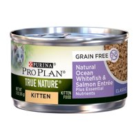 Purina Pro Plan TRUE NATURE Grain Free Natural Ocean Whitefish & Salmon Formula Plus Essential Nutrients Wet Kitten Food - (24) 3 oz. Pull-Top Can