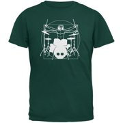 Vitruvian Man Drummer Forest Green Adult T-Shirt