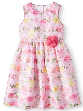 Floral Shadow Stripe Easter Dress (Little Girls & Big Girls)