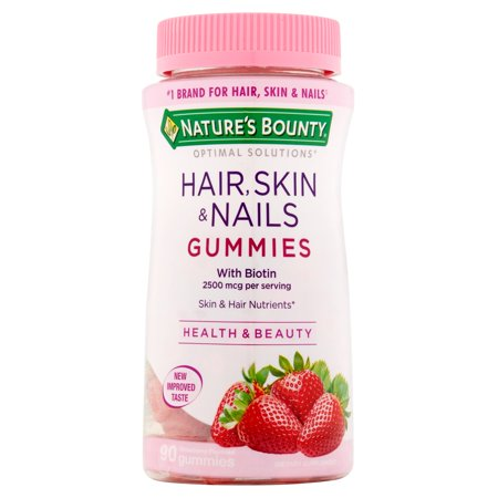 Nature's Bounty Optimal Solutions Hair, Skin & Nails Strawberry Flavored Gummies, 90
