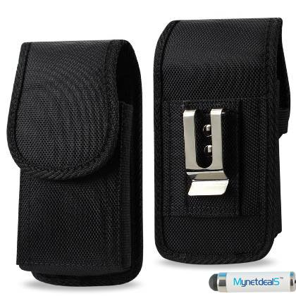 """Vertical Black Heavy Duty Rugged Canvas Case Pouch Holster for Apple iPhone SE/ iPhone 5S/ 5/ 5C 4.0"""",w/Metal Clip and Belt Loop. (MH02D) + MYNETDEALS Stylus"""