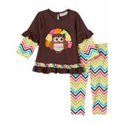 4fe5094c9 Infant Girls 2 PC Turkey Owl Thanksgiving Outfit Shirt & Leggings 24m
