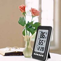 LCD Wireless Thermometer Indoor Outdoor Digital Thermometer Clock Temperature Monitor Meter with Transmitter 100m Range