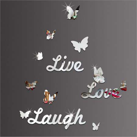 Live Laugh Love Quote & Butterflies Mirror Wall Stickers Decal Home Modern Decor](Berkeley Decals)