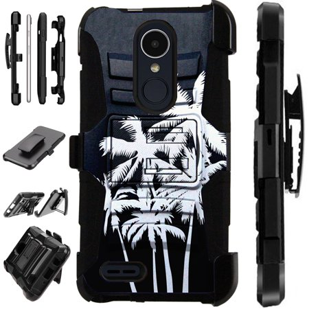 For LG Rebel 4 | LG Rebel 3 Case Armor Hybrid Silicone Cover Stand LuxGuard Holster (Night Palm Tree)