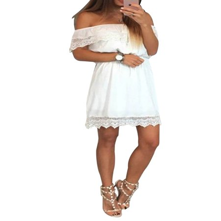 Crinkle Sundress (Off Shoulder Dress Women Lace Spliced Summer Mini Sundress for Beach Party Cocktail Evening Short Sleeve Solid Dresses )
