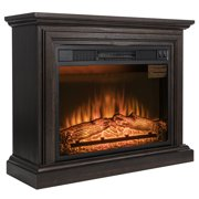 "AKDY FP0091 32"" Electric Fireplace Freestanding Brown Wooden Mantel Firebox Heater 3D Flame w/ Logs"