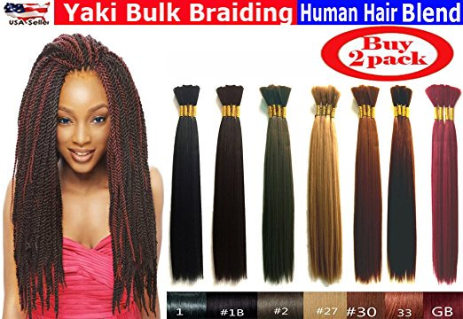 Yaki Bulk Braiding Hair, Human Hair Blend, Braids Hair Extensions for Twists, Hot Selling, Length 18