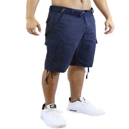 - Mens Vintage Utility Cotton Cargo Shorts With Belt