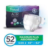 Prevail Air Maximum Plus Absorbency Stretchable Incontinence Briefs / Adult Diapers, Size 2, 52 Count