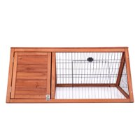 Chicken Coop Bunny Rabbit Hutch Guinea Pig House Triangular Hutch with Outdoor Run