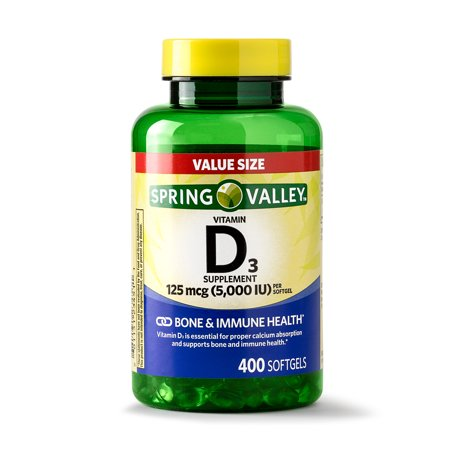 Spring Valley Vitamin D3 Softgels, 125 mcg (5000 IU), 400