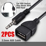 2PCS MP3 3.5mm Male AUX Audio Plug Jack To USB 2.0 Type A Female Converter M/F OTG Adapter Data Charge Cable Cord