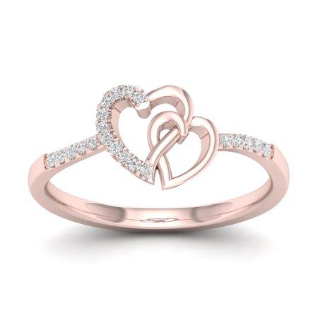 1/20Ct TDW Diamond 10k Rose Gold Heart Duos FashionRing