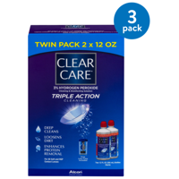 (3 Pack) Clear Care Triple Action Cleaning Twin Pack, 12.0 FL OZ