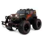 Super Cool Monster Mud Jeep SUV Rechargeable Battery Operated RC Off-Road Truck 1:16 Size w/ Bright Headlights, Custom Mud Splatter Paint (Colors May Vary) Remote Controlled Vehicle, RC Jeep Wrangler