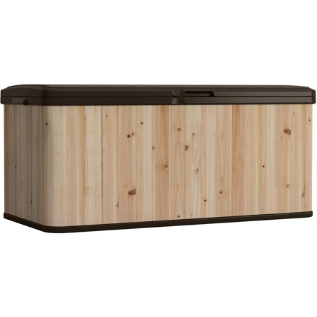 Suncast 120 Gallon Extra Large Wood and Resin Deck Box, (Seal Wood Deck)