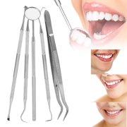 VBESTLIFE Dental Cleaning Kit,5PCS/Set Dental Oral Hygiene Kit Mouth Mirror Sickle Scaler