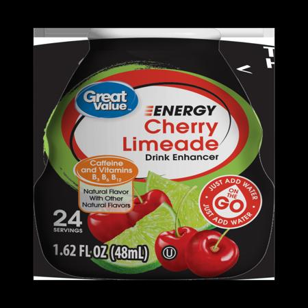 Energy Enhancer Cherry (Great Value Cherry Limeade Energy Drink Enhancer, 1.62 Fl.)