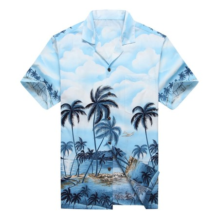 Made in Hawaii Men's Hawaiian Shirt Aloha Shirt Palms Diamond Head Edge Blue
