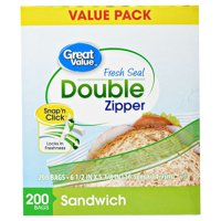 (2 pack) Great Value Double Zipper Sandwich Bags, 200 Count