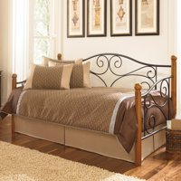 Doral Complete Metal Daybed with Euro Top Spring Support Frame and Pop-Up Trundle Bed, Matte Black Finish, Twin