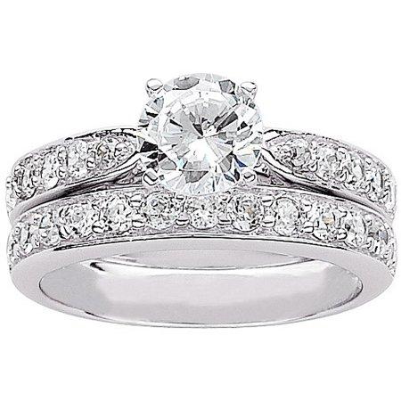 3.1 Carat T.G.W Round CZ Sterling Silver Bridal Set