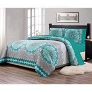 "Fancy Linen 7pc King/California King Size Bedspread Quilt Over Size 118"" X 95"" Aqua Turquoise Coastal Plain"" Grey Green"" White Elegant Design And Sheet Set # Oslo Aqua"