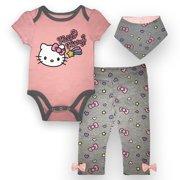 c205a9421 Hello Kitty Bodysuit, Pant and Bib Set, 3 pc Set (Baby Girls)