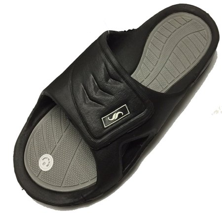 0138 Men's Rubber Slide Sandal Velcro Strap