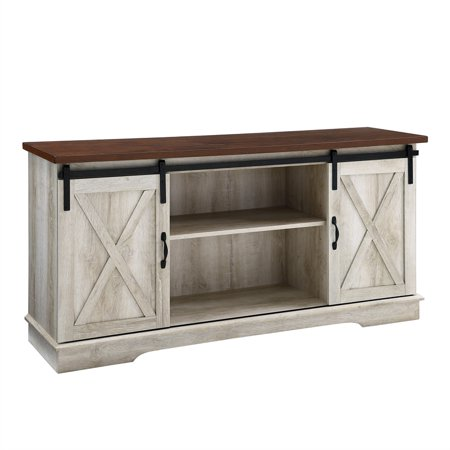 58 inch Sliding Barn Door TV Stand Media Console in White (Oak Hall Stand)