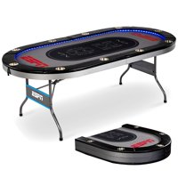 ESPN 10 Player Premium Poker Table with In-Laid LED Lights, No Assembly Required, Foldable, Gray