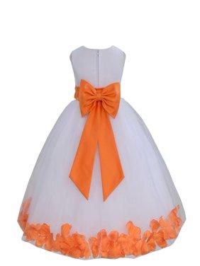 Ekidsbridal Wedding Pageant Rose Petals White Tulle Junior Bridesmaid Toddler Dress Summer Easter Dress First Communion Girls Clothing Holiday Recital Dress Princess 302T size 6 Flower Girl Dress